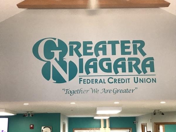 Greater Niagara Federal Credit Union interior Signs vinyl graphics Niagara Falls, NY Niagara County, NY organization